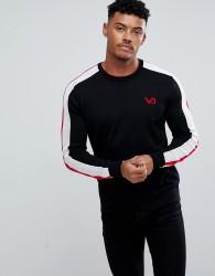 Versace Jeans Jumper In Black With Red Sleeve Stripe - Black