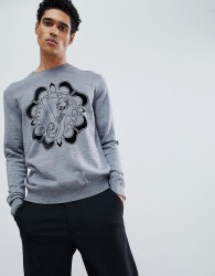 Versace Jeans jumper in grey with chest logo - Grey