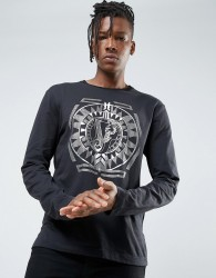 Versace Jeans Long Sleeve T-Shirt In Black With Gold Print - Black