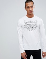 Versace Jeans long sleeve t-shirt in white with chest print - White
