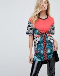 Versace Jeans Longline Column Baroque Print Logo T-shirt - Black