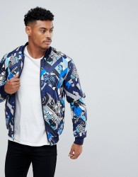 Versace Jeans Padded Reversible Bomber Jacket With Print - Navy