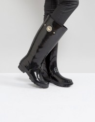 Versace Jeans Patent Welly Boot With Gold Button Detail - Black
