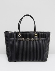 Versace Jeans Plisse Tote With Gold Logo Lettering - Black