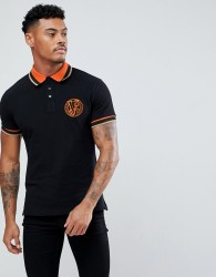 Versace Jeans Polo Shirt In Black With Embroidered Logo - Black