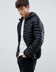 Versace Jeans puffer jacket in black with hood - Black
