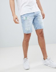 Versace Jeans Skinny Denim Shorts In Blue With Distressing - Blue