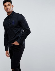 Versace Jeans Skinny Shirt In Black With Embroidered Logo - Black