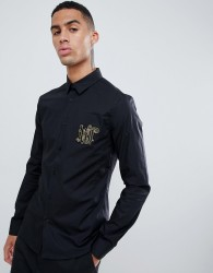 Versace Jeans slim shirt with chest embroidery - Black