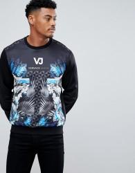 Versace Jeans Sweatshirt In Black With Logo Print - Black