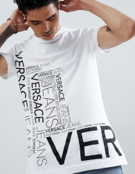 Versace Jeans t-shirt in white with repeat logo - White