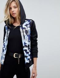 Versace Jeans Tracksuit Hoodie with Geometric Print - Black