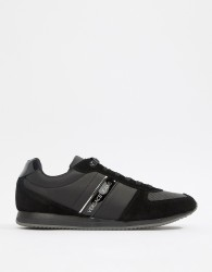 Versace Jeans trainers in black with gold logo panel - Black