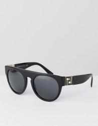 Versace Round Sunglasses with Flat Brow - Black