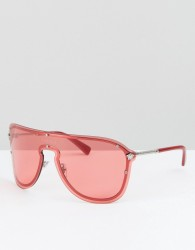 Versace shield sunglasses in pink - Pink