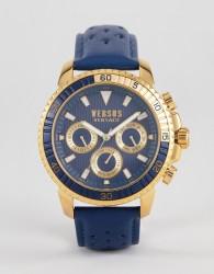 Versus Versace S3002 Aberdeen Leather Watch In Navy - Navy