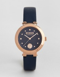 Versus Versace SP3708 Lantau Island Leather Watch In Navy - Navy