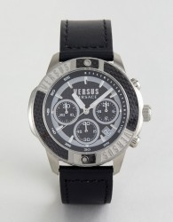 Versus Versace SP3801 Admiralty Leather Watch In Black - Black