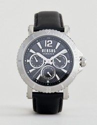 Versus Versace Steenberg VSP520218 Chronograph Leather Watch In Black 45mm - Black
