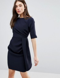 Vesper 3/4 Sleeve Pencil Dress With Pleat Detail - Navy