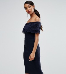 Vesper Bandeau Pencil Dress With Eyelash Lace Frill Overlay - Navy