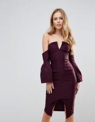 Vesper Bardot Bell Sleeve Pencil Dress - Purple