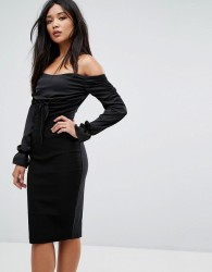 Vesper Bardot Midi Dress with Ruched Detail - Black