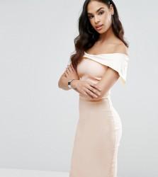Vesper Bardot Overlay Pencil Dress in Colourblock - Multi