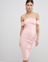 Vesper Bardot Pencil Dress - Pink