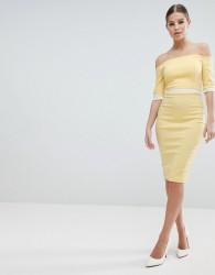 Vesper Bardot Pencil Dress With Contrast Waistband - Yellow
