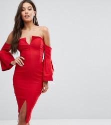 Vesper Bardot Plunge Front Midi Dress with Sleeve Detail - Red