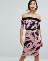 Vesper Bardot Swirl Print Pencil Dress - Pink