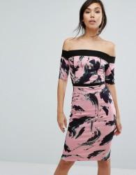 Vesper Bardot Swirl Print Pencil Dress - Pink