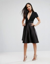 Vesper Bonded Satin Prom Skirt With Bow Back - Black