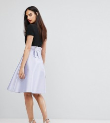Vesper Bonded Satin Prom Skirt With Bow Back - Purple