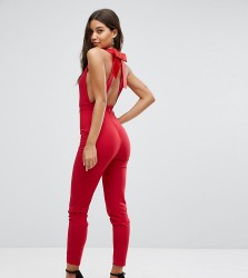 Vesper Bow Back Fitted Jumpsuit - Red