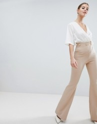 Vesper Button Detail Wide Leg Trousers - Brown