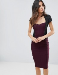 Vesper Capped Sleeve Pencil Midi Dress - Purple