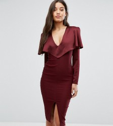 Vesper Cold Shoulder Midi Dress with Long Sleeves - Red