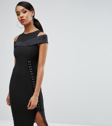 Vesper Cold Shoulder Pencil Dress With Lace Up Side - Black
