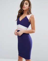 Vesper Colour Block Pencil Dress - Navy