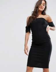 Vesper Curved Bandeau Pencil Dress With Button Detail - Black