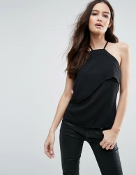 Vesper Double Layered Halterneck Top - Black