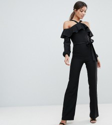 Vesper Frill Overlay Jumpsuit With Tie Detail - Black