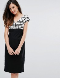Vesper Grid Print Pencil Dress With Contrast Skirt - Black