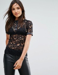Vesper Lace Top With Contrast Piping - Black