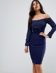 Vesper Long Sleeve Bardot Pencil Dress - Navy