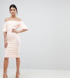 Vesper Off Shoulder Pencil Dress With Frill Sleeve - Pink