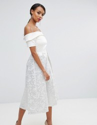 Vesper Off Shoulder Prom Dress In Metallic Jacquard - White