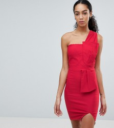 Vesper One Shoulder Pencil Dress with Bow Waist - Red